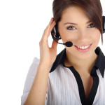 Beautiful Customer Representative girl with headset